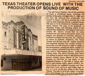Texas Theatre 1980 Press Release